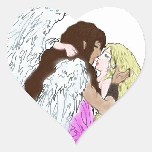 Beso del ángel pegatina en forma de corazón