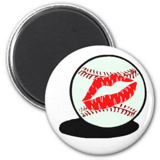 Beso del béisbol imán redondo 5 cm