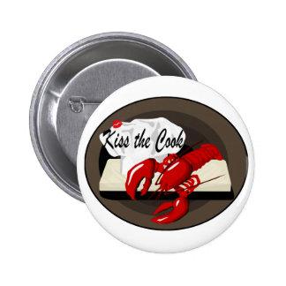 Beso del cocinero de la langosta el botón del coci pin redondo de 2 pulgadas