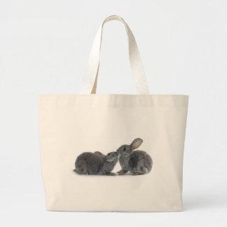 Beso del conejo bolsa de tela grande