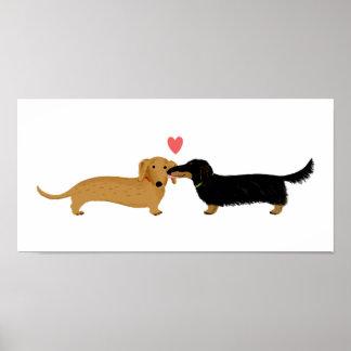 Beso del Dachshund con el corazón Poster