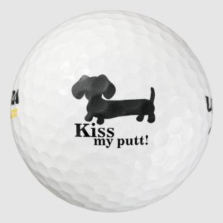 Beso del Dachshund mi perro de la salchicha de Pack De Pelotas De Golf