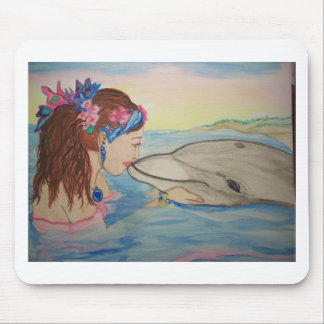 Beso del delfín tapete de ratón