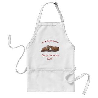 Beso del día de la marmota delantal