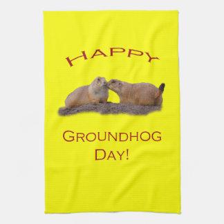 Beso del día de la marmota toalla de mano