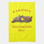 Beso del día de la marmota toallas de cocina