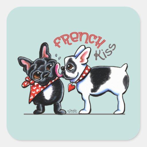Beso del dogo francés calcomanía cuadradas