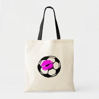 Beso del fútbol (rosa) bolsa tela barata
