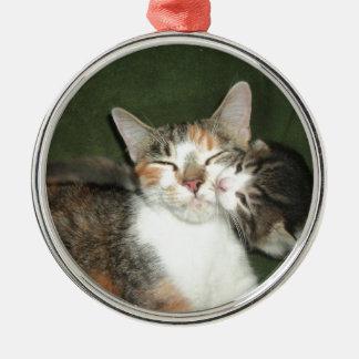 Beso del gatito adorno navideño redondo de metal