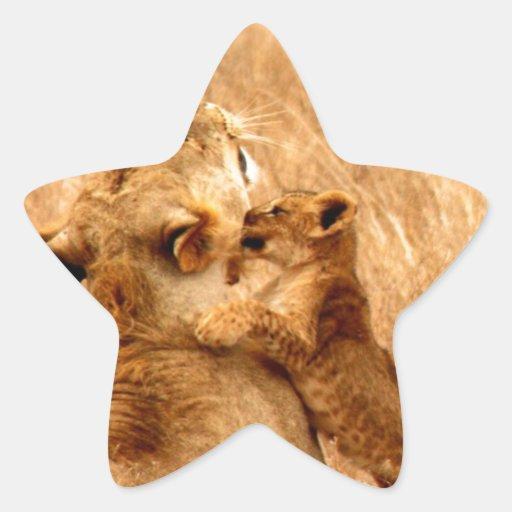 beso del león y mamá del amor calcomanías forma de estrella