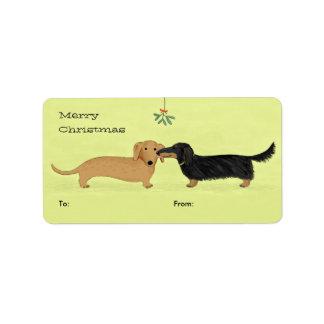 Beso del muérdago del Dachshund - navidad del perr Etiqueta De Dirección
