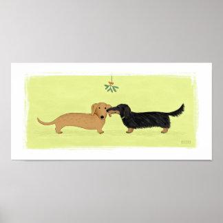 Beso del muérdago del Dachshund - navidad del perr Impresiones
