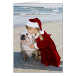 Beso del navidad de la playa felicitacion