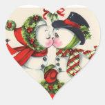 Beso del navidad del vintage calcomania de corazon