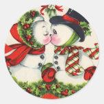 Beso del navidad del vintage pegatinas redondas