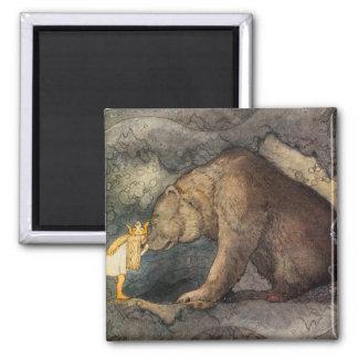 Beso del oso imán cuadrado
