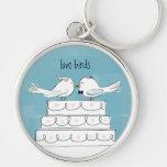 Beso del pastel de bodas de los pájaros del amor llaveros personalizados