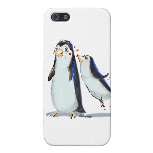 Beso del pingüino iPhone 5 fundas