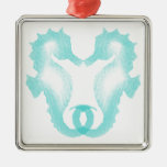 Beso del Seahorse Ornamento Para Arbol De Navidad