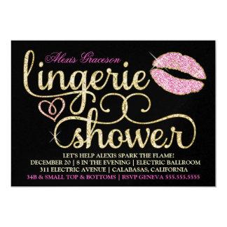 Beso glamoroso de Bachelorette Blac de la chispa Invitación 12,7 X 17,8 Cm