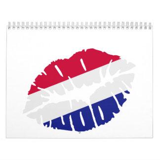 Beso holandés de la bandera calendario