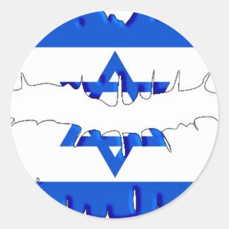 Beso israelí pegatina redonda
