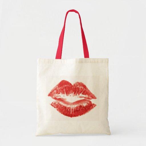 Beso, labios rojos bolsa tela barata