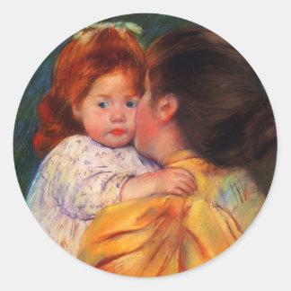 Beso maternal de Maria Cassatt- Pegatina Redonda