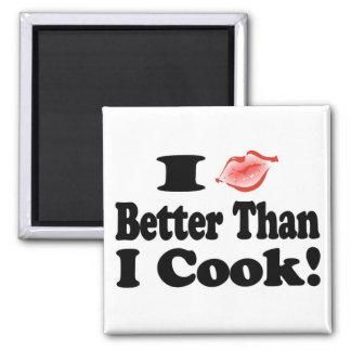 Beso mejor que cocinero imán cuadrado