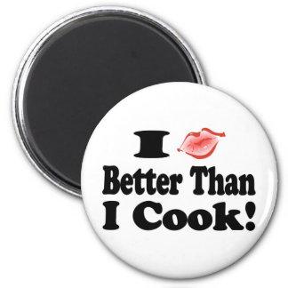 Beso mejor que cocinero imán redondo 5 cm