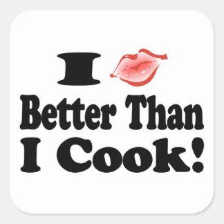 Beso mejor que cocinero pegatina cuadrada