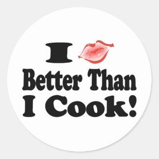 Beso mejor que cocinero pegatina redonda