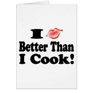 Beso mejor que cocinero tarjeta de felicitación