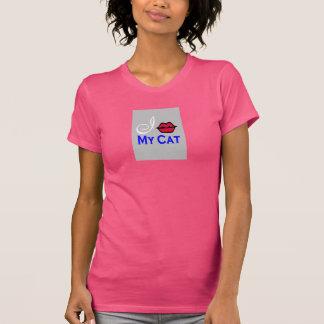 """""""beso mis camisetas sin mangas del rosa del gato """""""