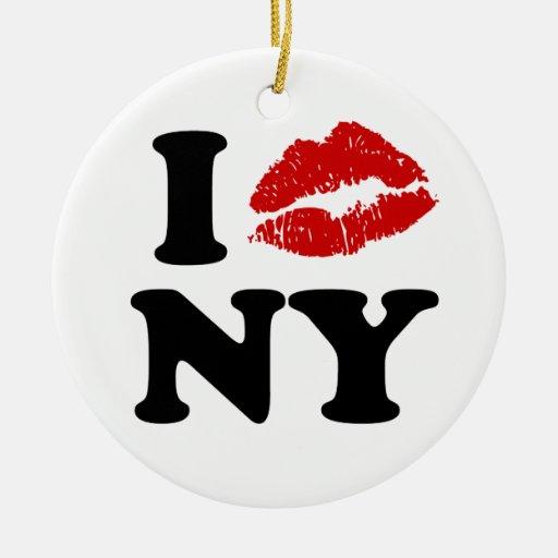 Beso Nueva York Adorno Navideño Redondo De Cerámica