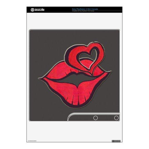 Beso para usted - diga con el corazón/el labio PS3 slim calcomanías