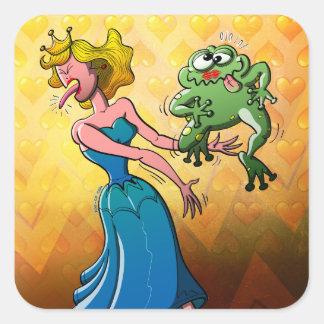 Beso repugnante para una princesa pegatina cuadrada