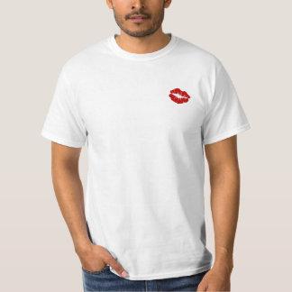 Beso rojo del lápiz labial del ~ de la camiseta remera