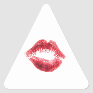 Beso rojo del lápiz labial pegatina triangular