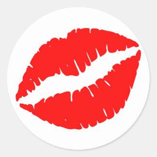 Beso rojo etiqueta redonda