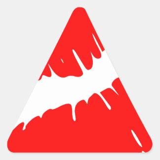 Beso rojo pegatina triangular