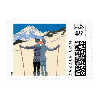 Beso romántico del amor del art déco del vintage sello