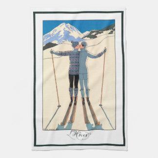 Beso romántico del amor del art déco del vintage toallas