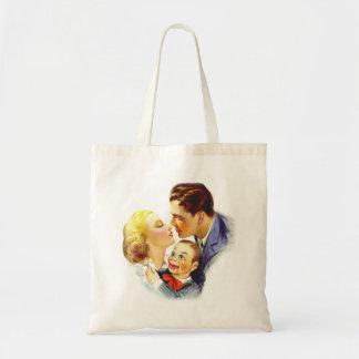 Beso romántico tres del kitsch retro del vintage u bolsa tela barata