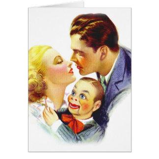 Beso romántico tres del kitsch retro del vintage u tarjeta de felicitación