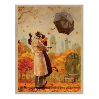 Beso ventoso de la ciudad tarjeta postal