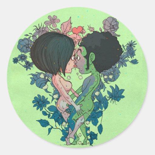 Beso verde pegatina redonda