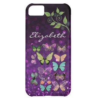 Besos de la mariposa en iPhone púrpura del brillo Funda Para iPhone 5C