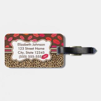 Besos de los labios del estampado leopardo etiquetas para equipaje