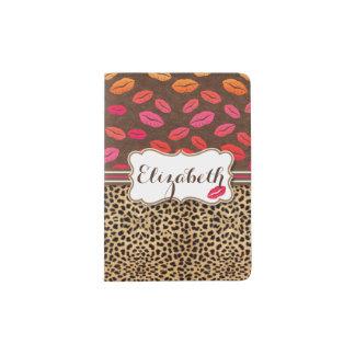 Besos de los labios del estampado leopardo porta pasaporte